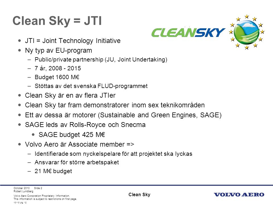 Clean Sky = JTI JTI = Joint Technology Initiative Ny typ av EU-program