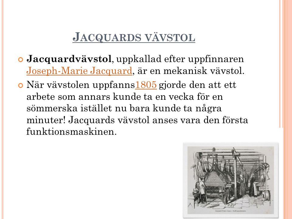 Jacquards vävstol Jacquardvävstol, uppkallad efter uppfinnaren Joseph-Marie Jacquard, är en mekanisk vävstol.