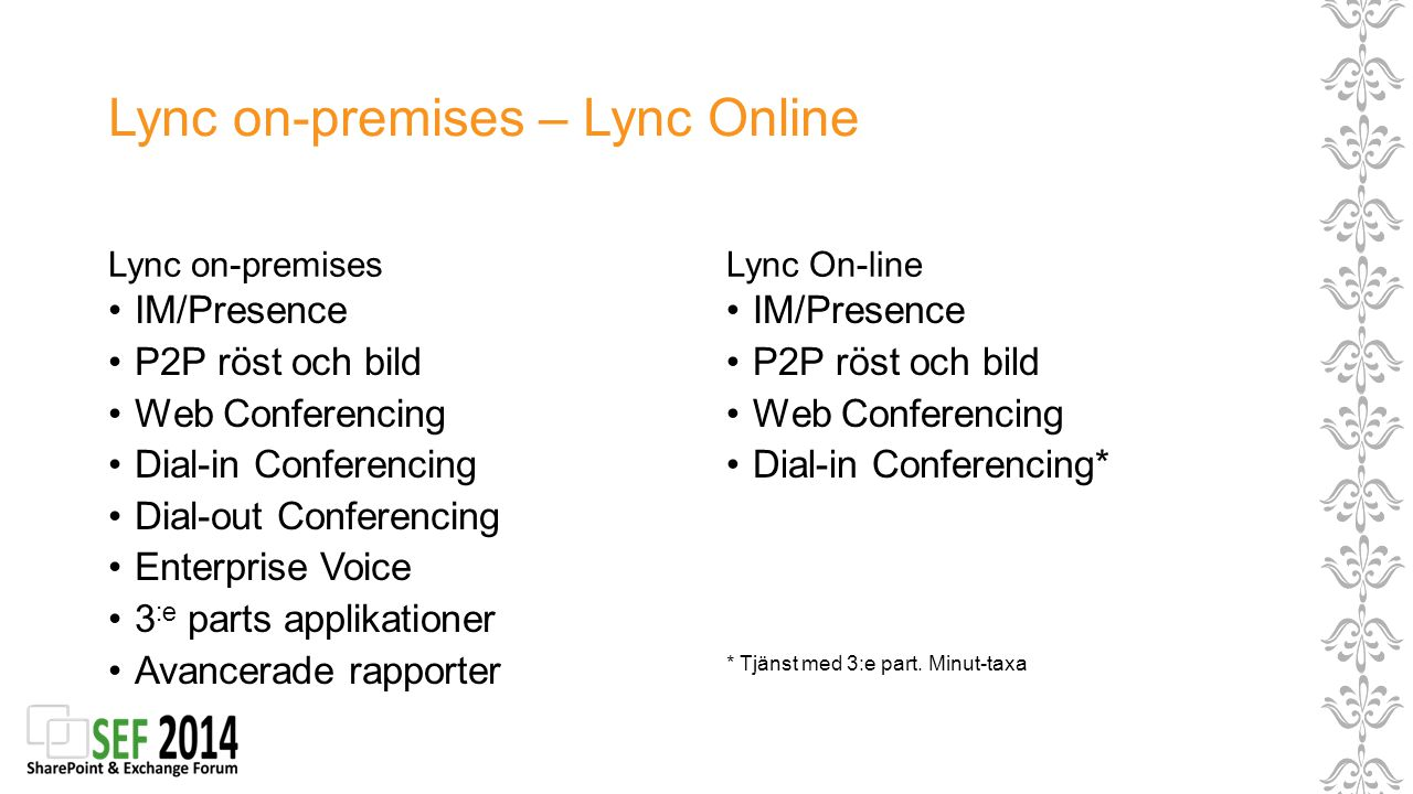 Lync on-premises – Lync Online