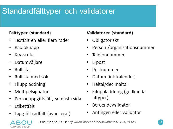 Standardfälttyper och validatorer