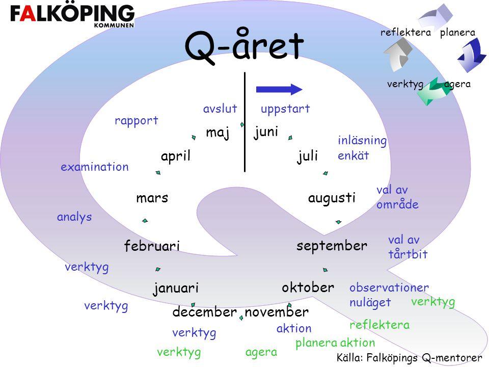 Q-året avslut uppstart rapport inläsning enkät examination