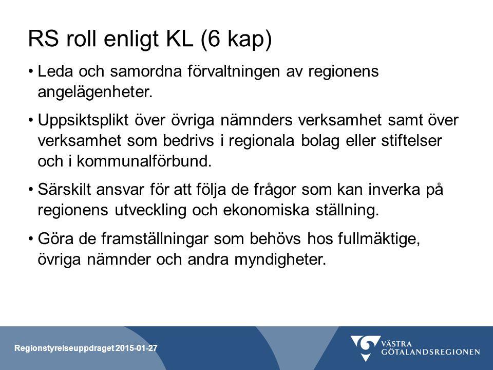 RS roll enligt KL (6 kap) Leda och samordna förvaltningen av regionens angelägenheter.