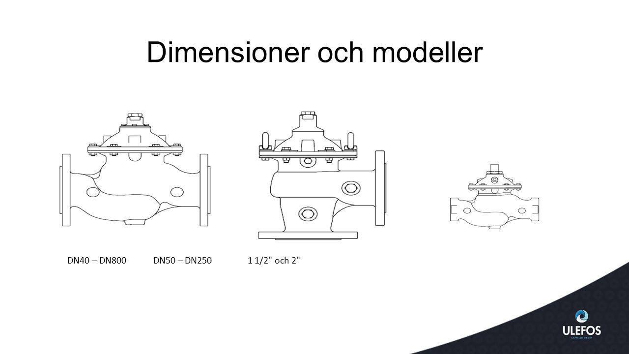 Dimensioner och modeller