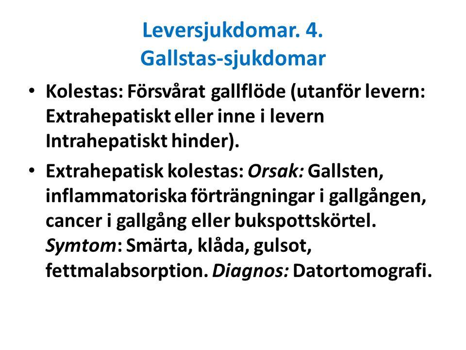 Leversjukdomar. 4. Gallstas-sjukdomar