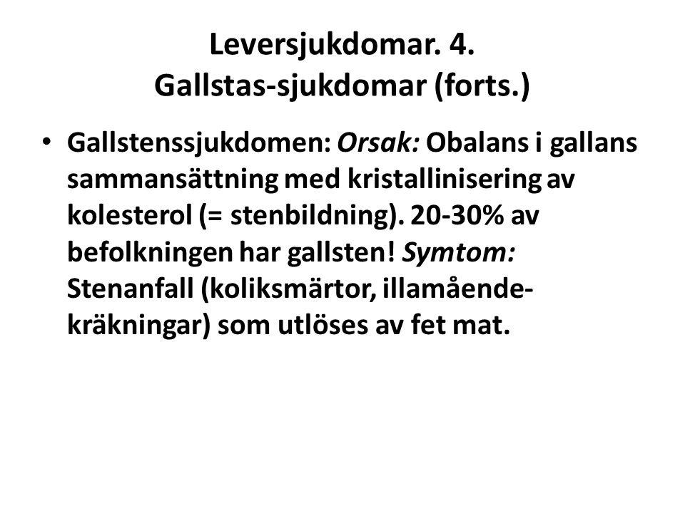 Leversjukdomar. 4. Gallstas-sjukdomar (forts.)