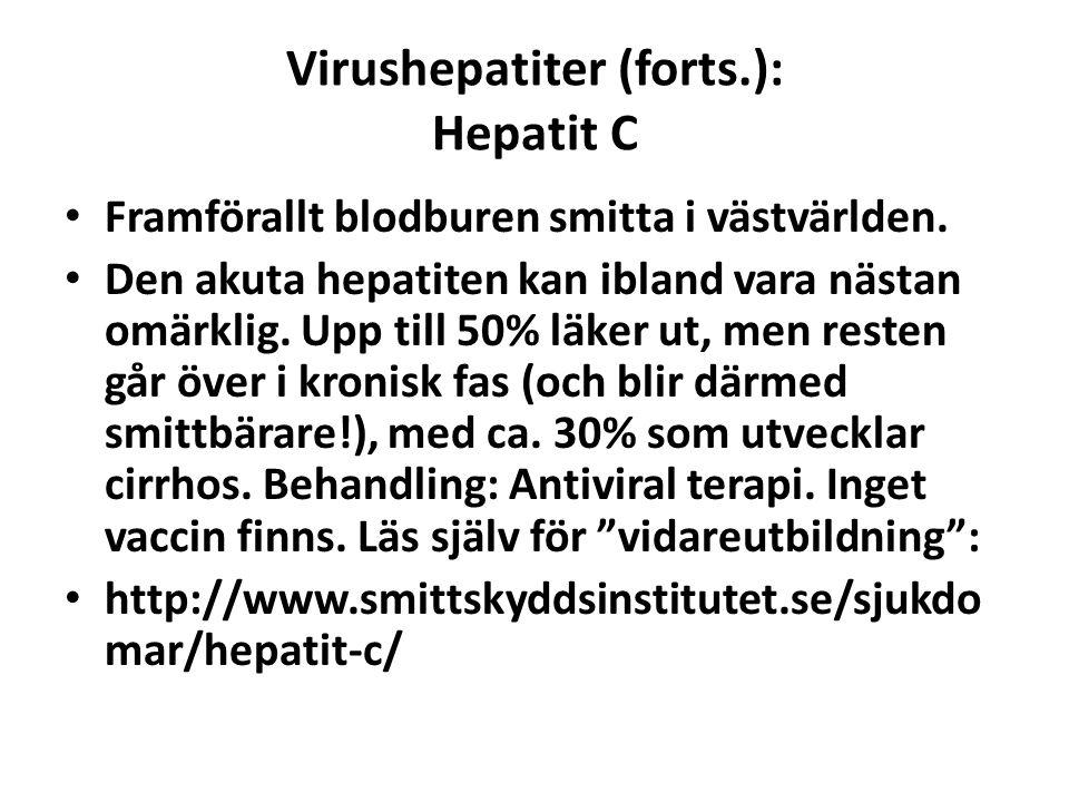 Virushepatiter (forts.): Hepatit C