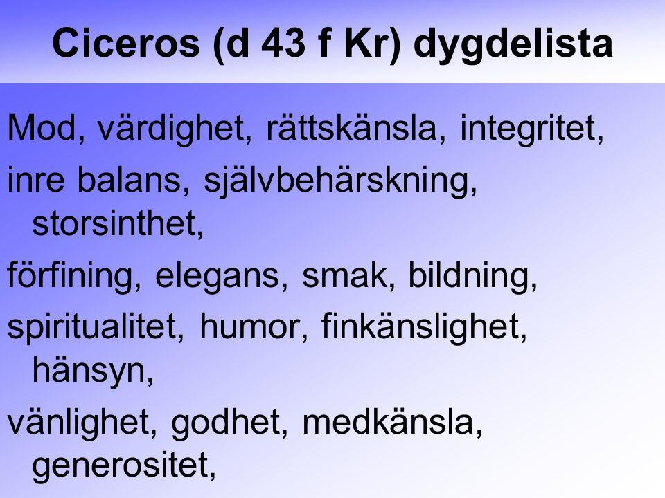 Ciceros (d 43 f Kr) dygdelista