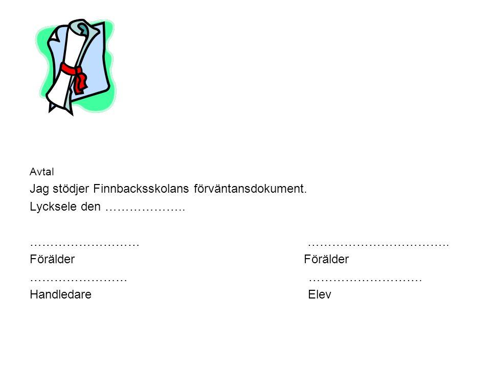 Jag stödjer Finnbacksskolans förväntansdokument. Lycksele den ………………..