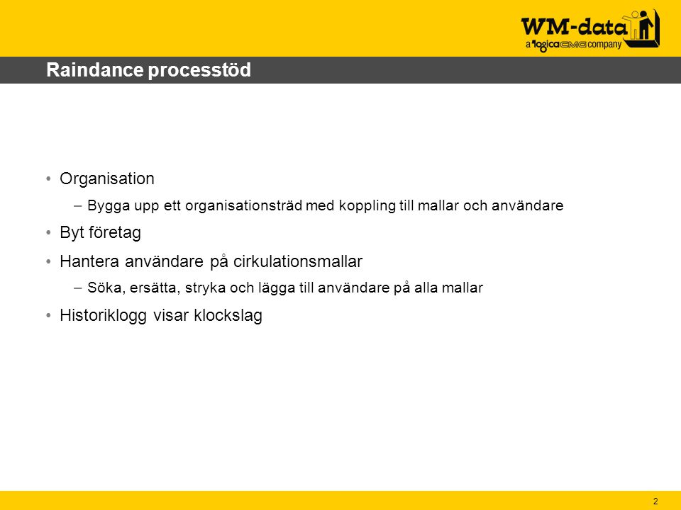 Raindance processtöd Organisation Byt företag