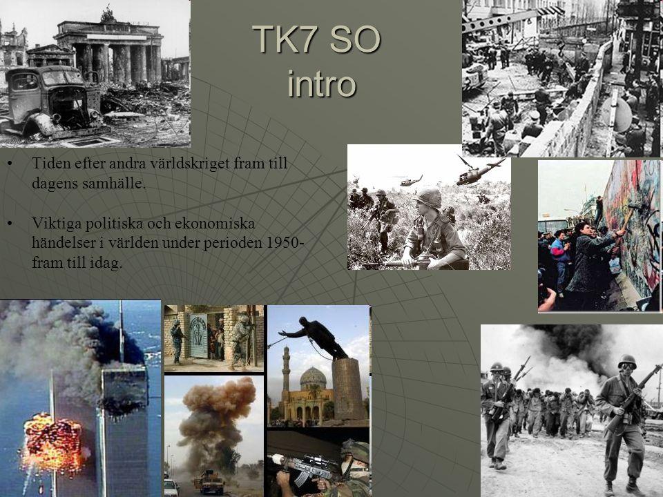 TK7 SO intro Tiden efter andra världskriget fram till dagens samhälle.