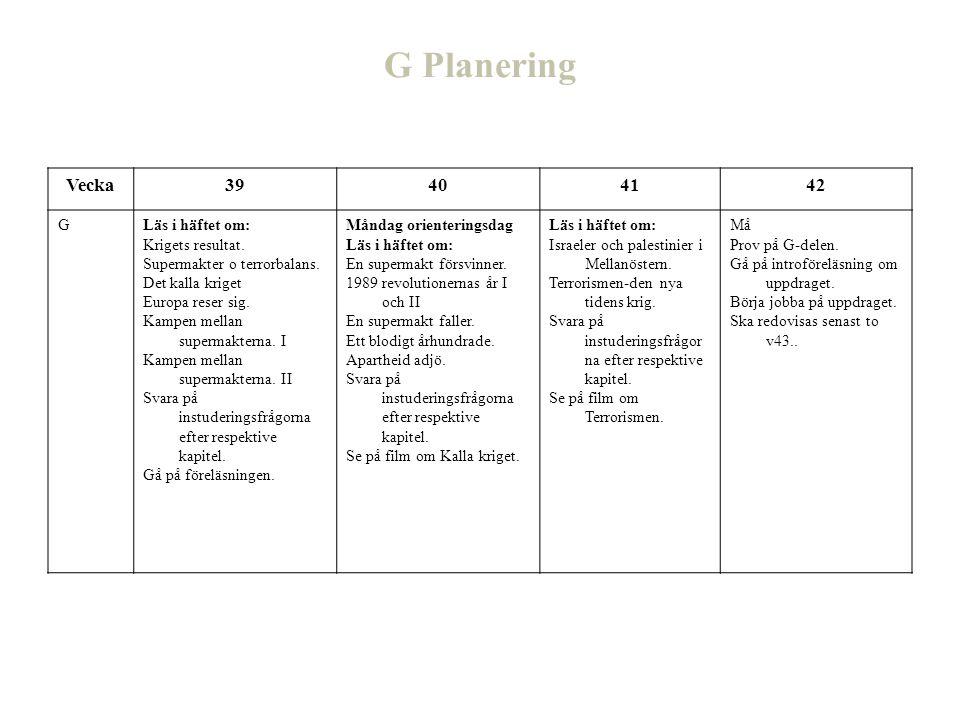 G Planering Vecka 39 40 41 42 G Läs i häftet om: Krigets resultat.