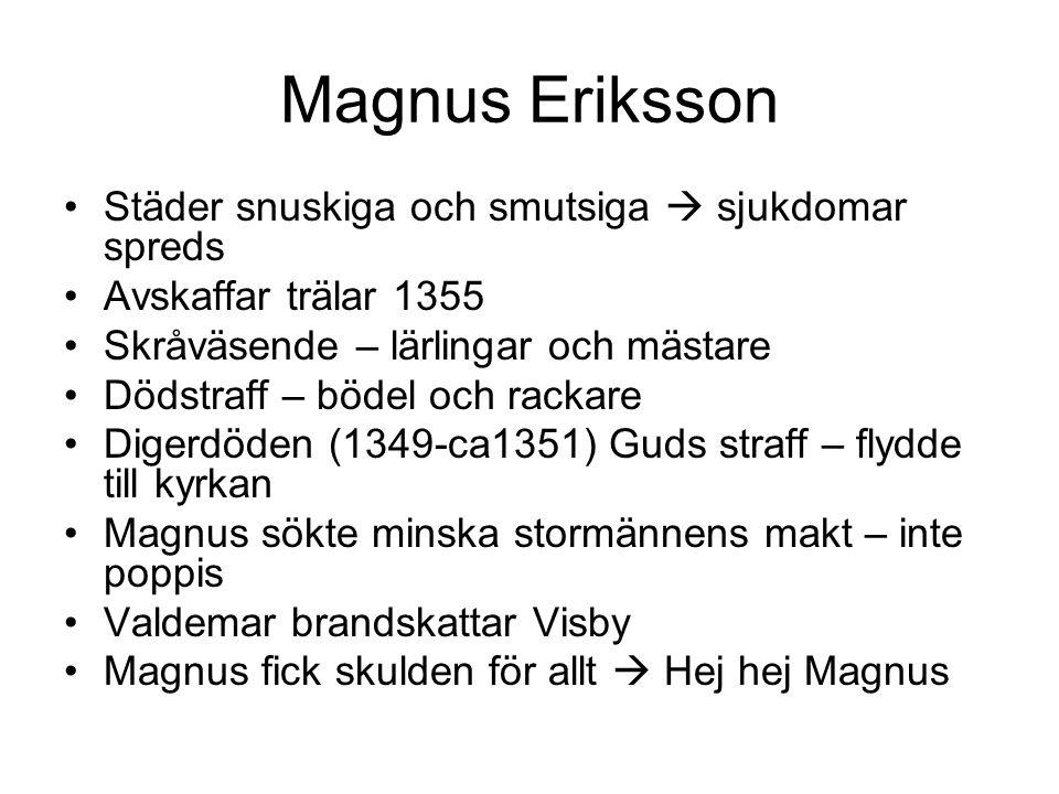 Magnus Eriksson Städer snuskiga och smutsiga  sjukdomar spreds