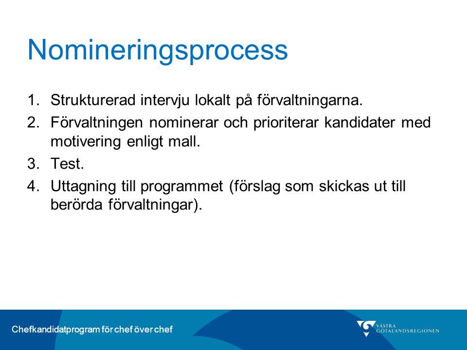 Nomineringsprocess Strukturerad intervju lokalt på förvaltningarna.