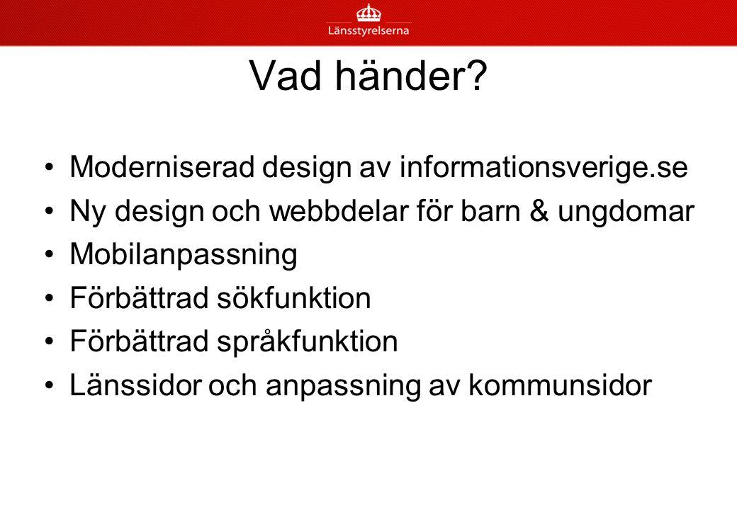 Vad händer Moderniserad design av informationsverige.se