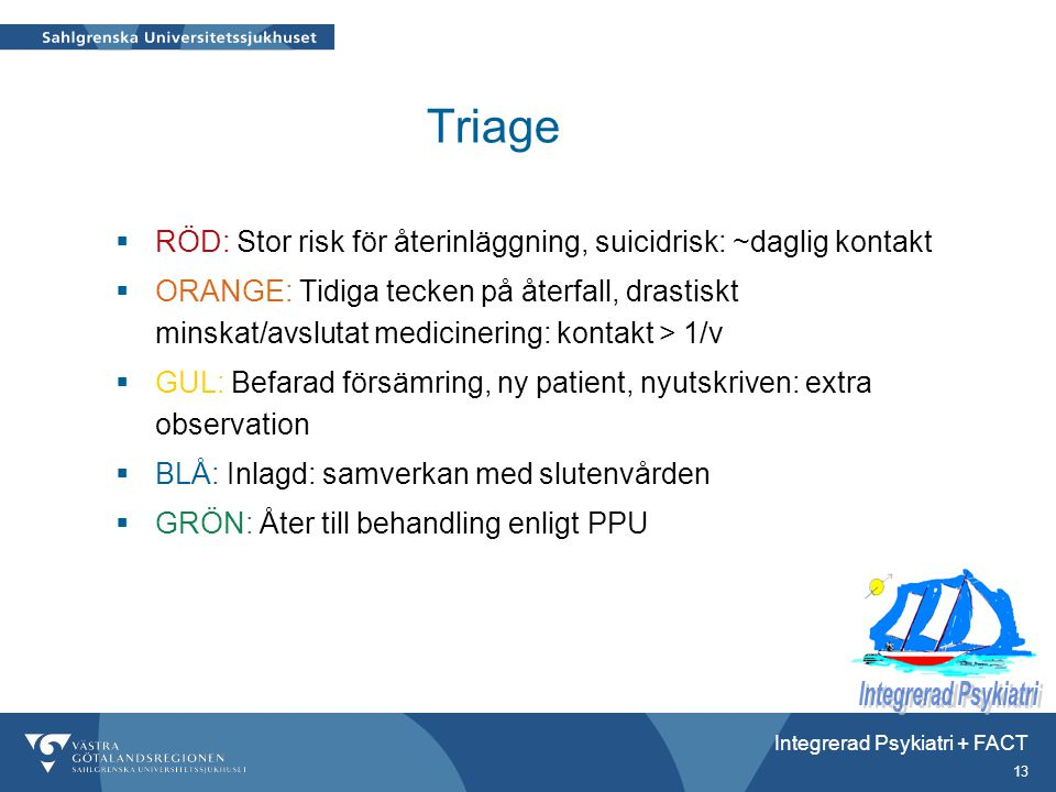 Triage RÖD: Stor risk för återinläggning, suicidrisk: ~daglig kontakt