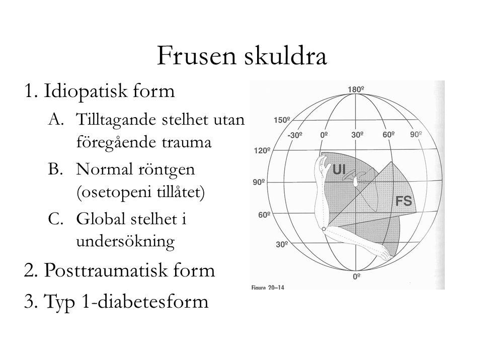 Frusen skuldra 1. Idiopatisk form 2. Posttraumatisk form