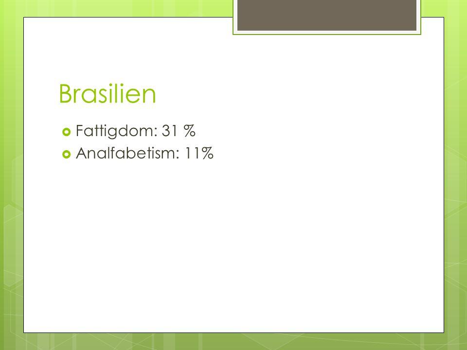 Brasilien Fattigdom: 31 % Analfabetism: 11%