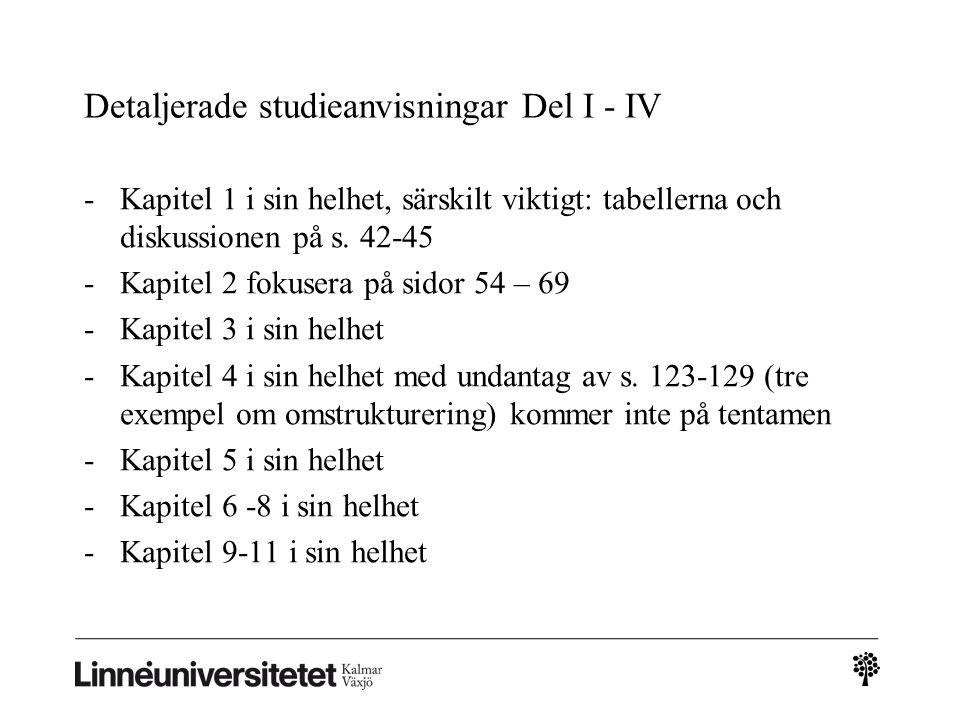 Detaljerade studieanvisningar Del I - IV