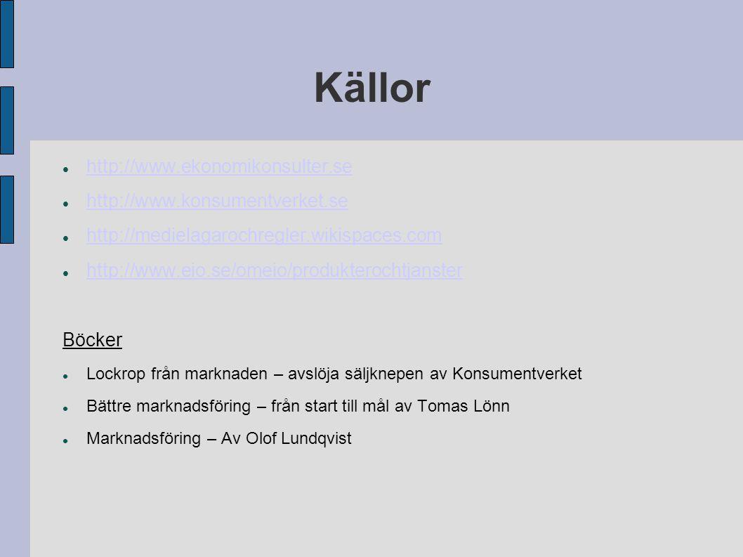 Källor http://www.ekonomikonsulter.se http://www.konsumentverket.se