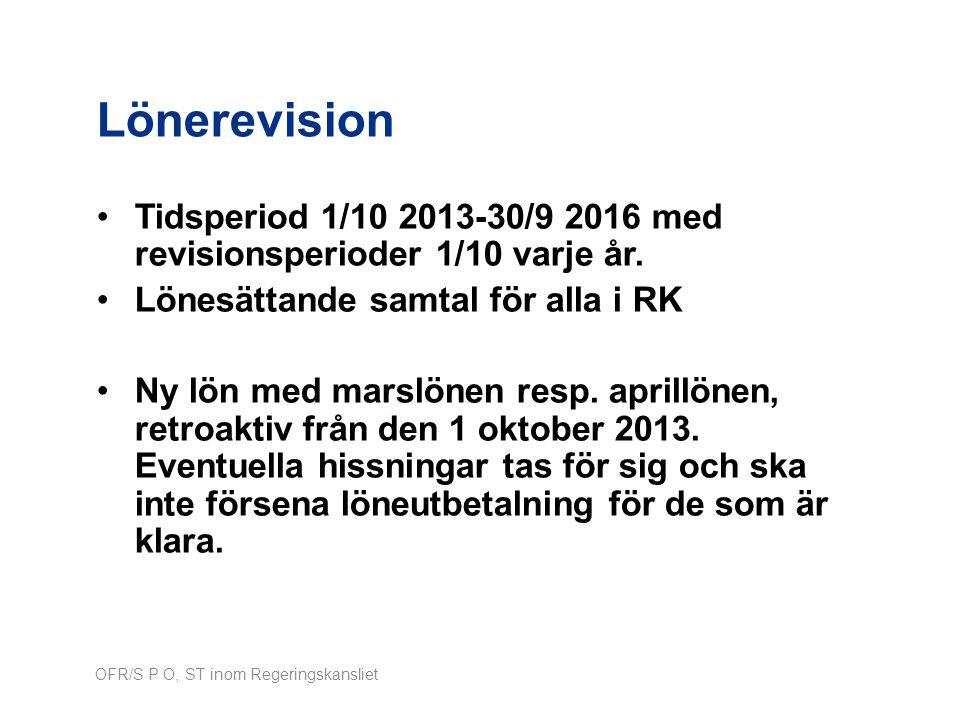 Lönerevision Tidsperiod 1/10 2013-30/9 2016 med revisionsperioder 1/10 varje år. Lönesättande samtal för alla i RK.