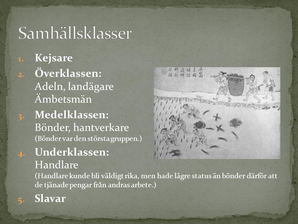 Samhällsklasser Kejsare Överklassen: Adeln, landägare Ämbetsmän