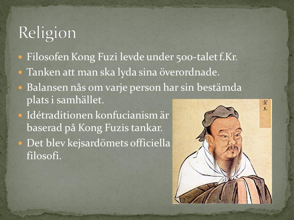 Religion Filosofen Kong Fuzi levde under 500-talet f.Kr.