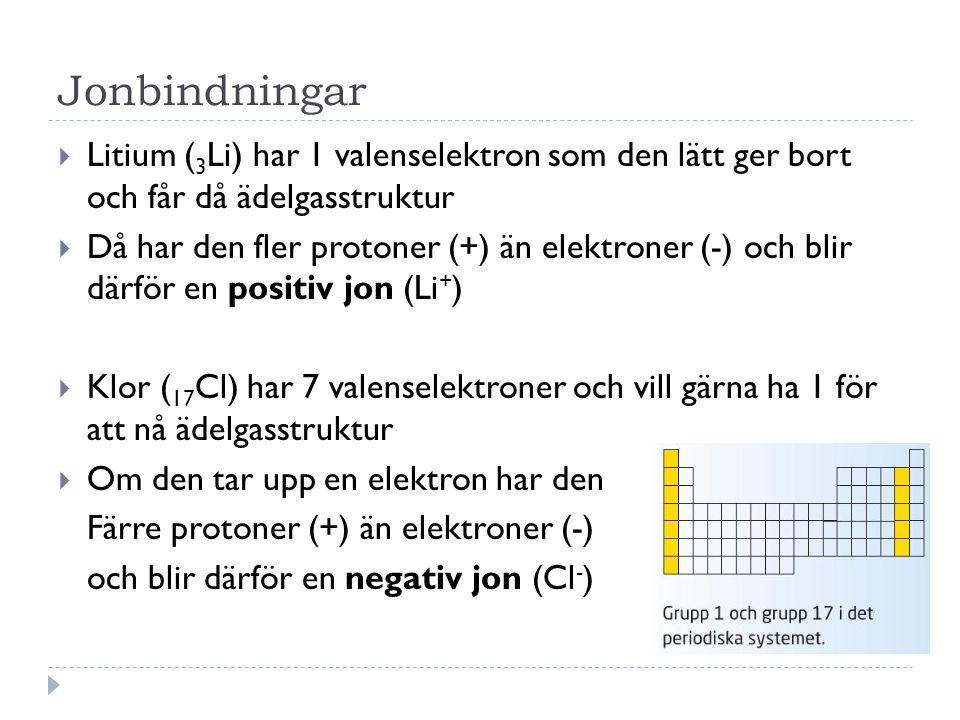 Jonbindningar Litium (3Li) har 1 valenselektron som den lätt ger bort och får då ädelgasstruktur.