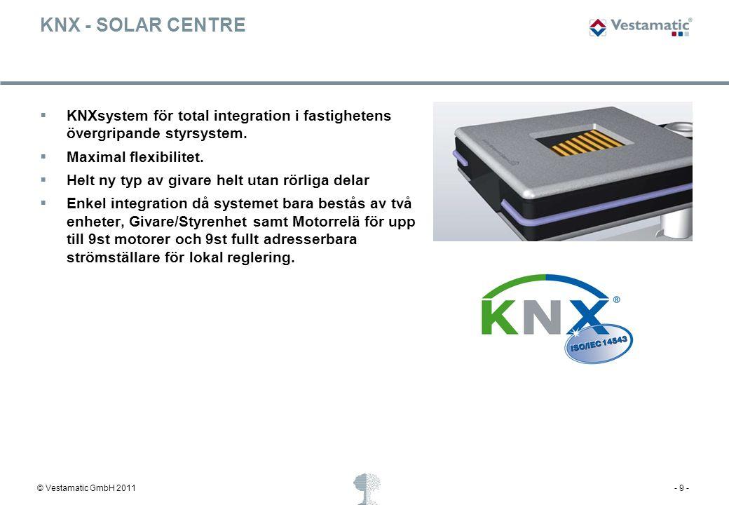 KNX - SOLAR CENTRE KNXsystem för total integration i fastighetens övergripande styrsystem. Maximal flexibilitet.