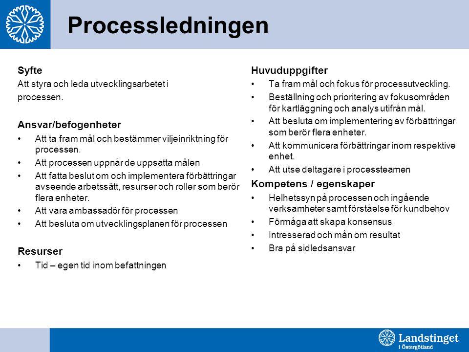 Processledningen Syfte Ansvar/befogenheter Resurser Huvuduppgifter