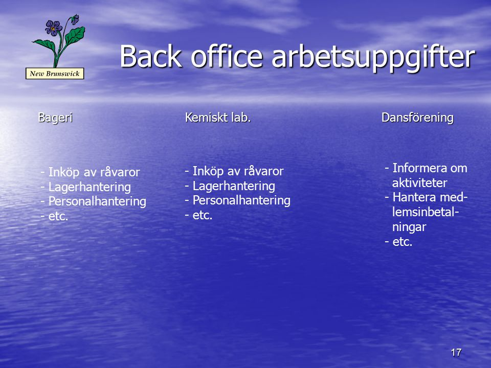 Back office arbetsuppgifter