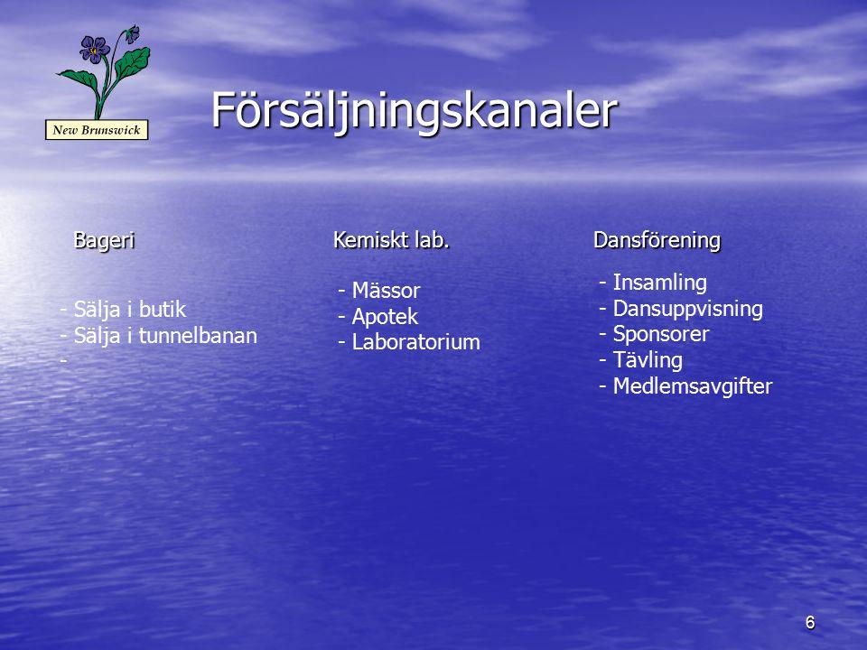 Försäljningskanaler Bageri Kemiskt lab. Dansförening Insamling Mässor