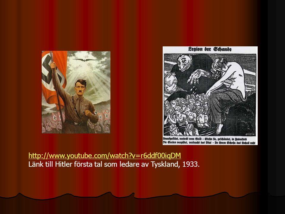 http://www.youtube.com/watch v=r6ddf00iqDM Länk till Hitler första tal som ledare av Tyskland, 1933.