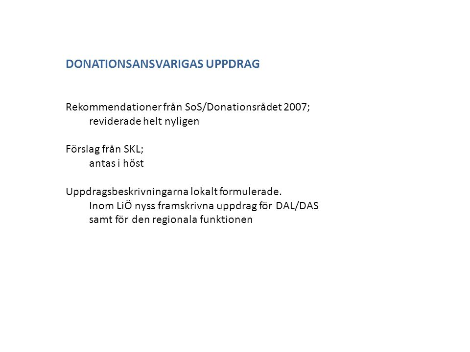 DONATIONSANSVARIGAS UPPDRAG