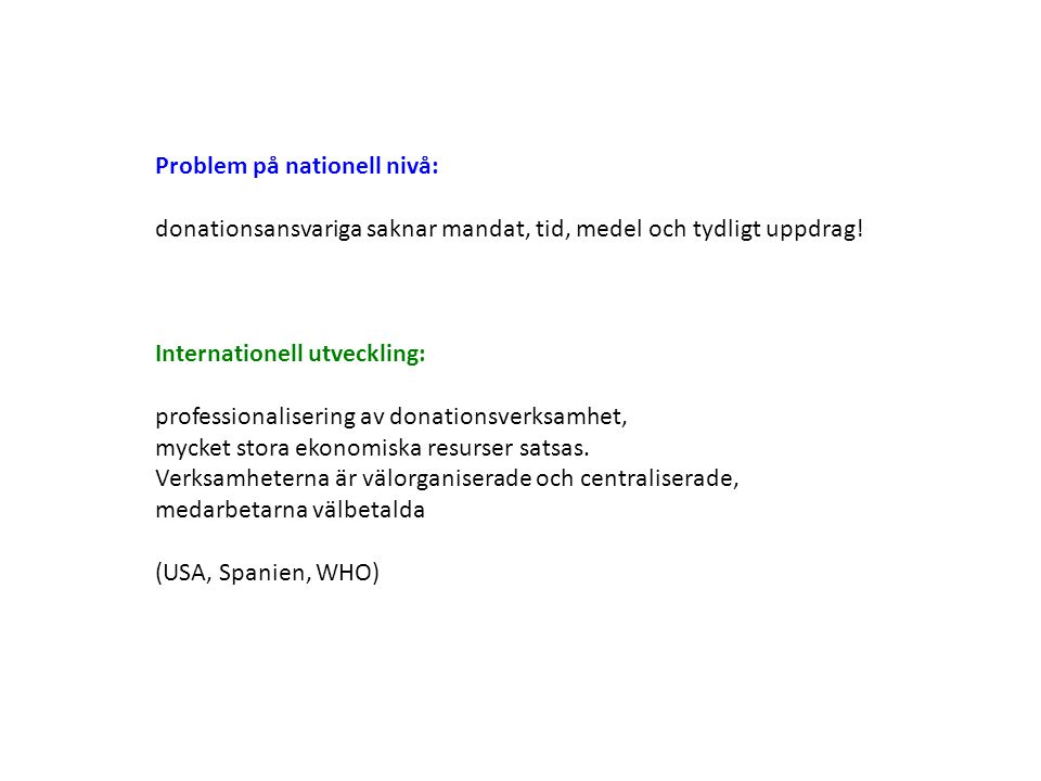 Problem på nationell nivå: