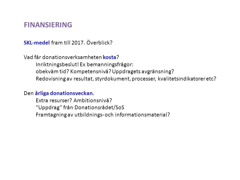 FINANSIERING SKL-medel fram till 2017. Överblick