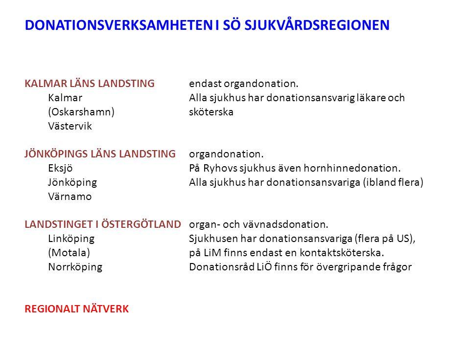 DONATIONSVERKSAMHETEN I SÖ SJUKVÅRDSREGIONEN