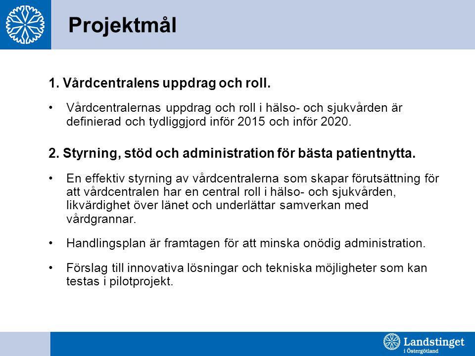 Projektmål 1. Vårdcentralens uppdrag och roll.