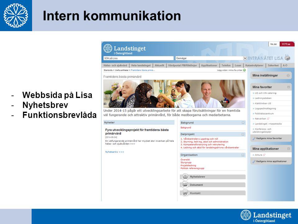 Intern kommunikation Webbsida på Lisa Nyhetsbrev Funktionsbrevlåda