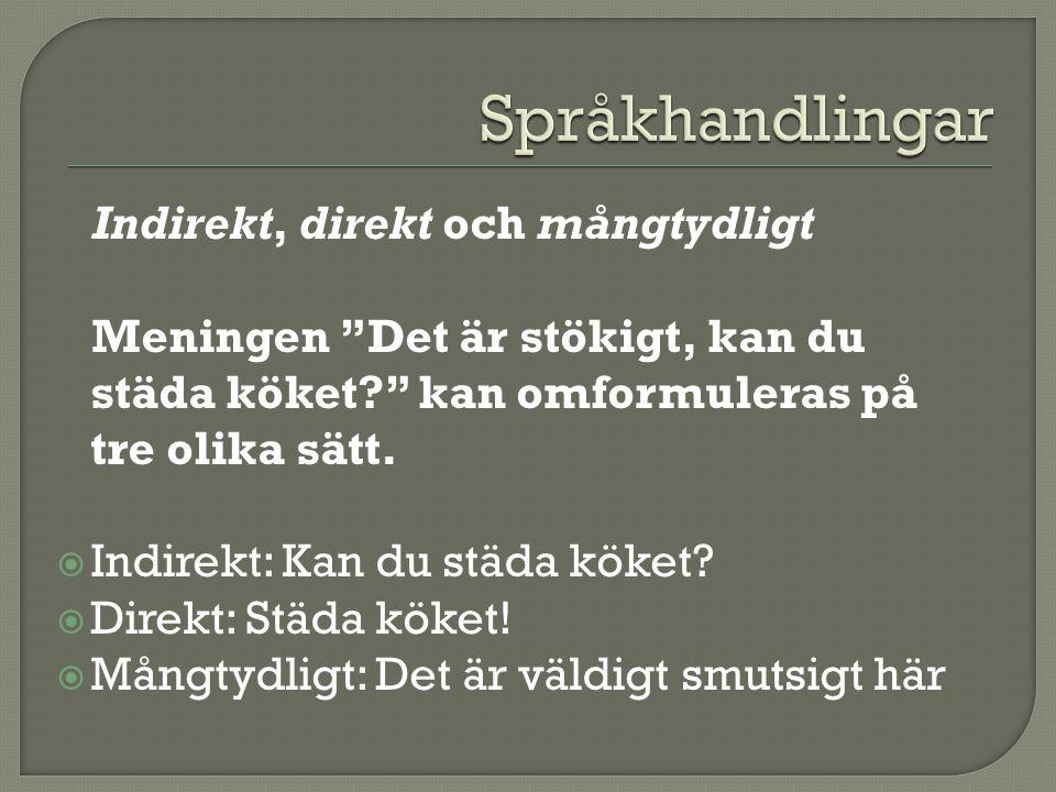 Språkhandlingar Indirekt, direkt och mångtydligt