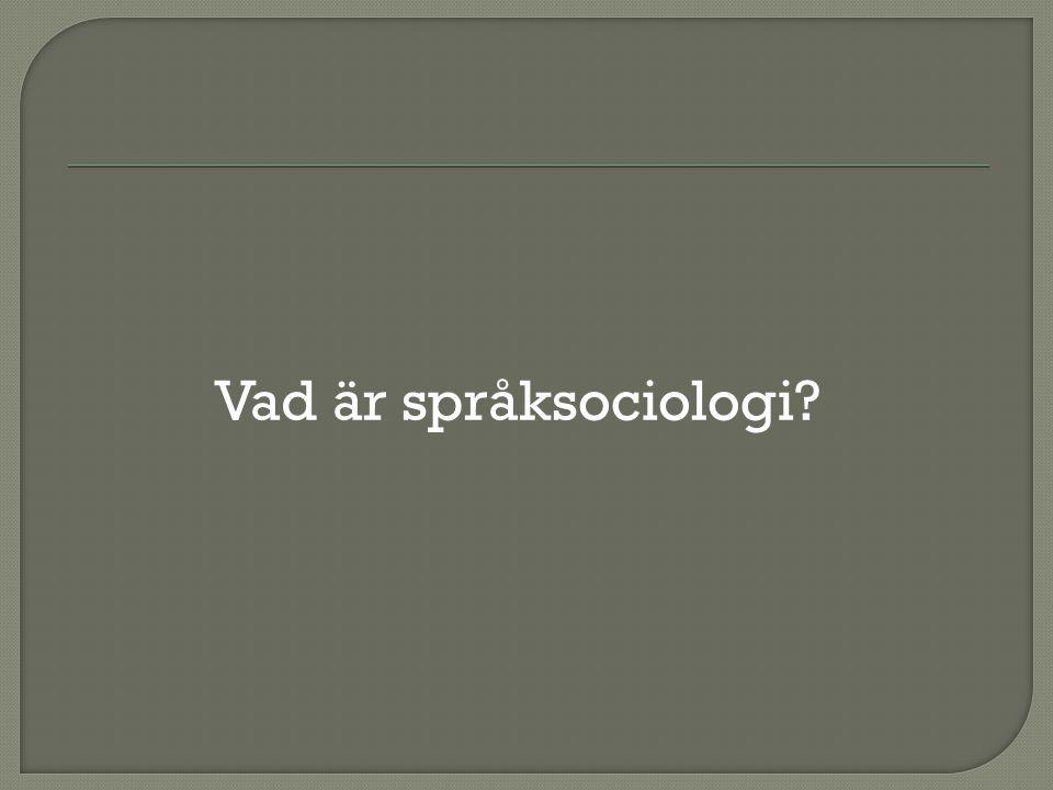 Vad är språksociologi