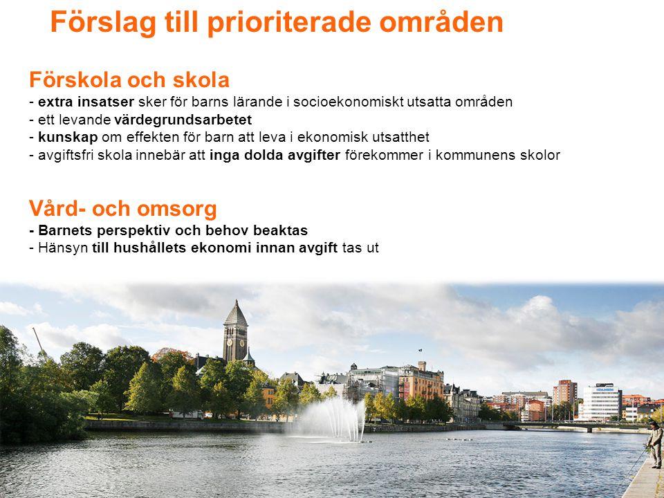 Förslag till prioriterade områden
