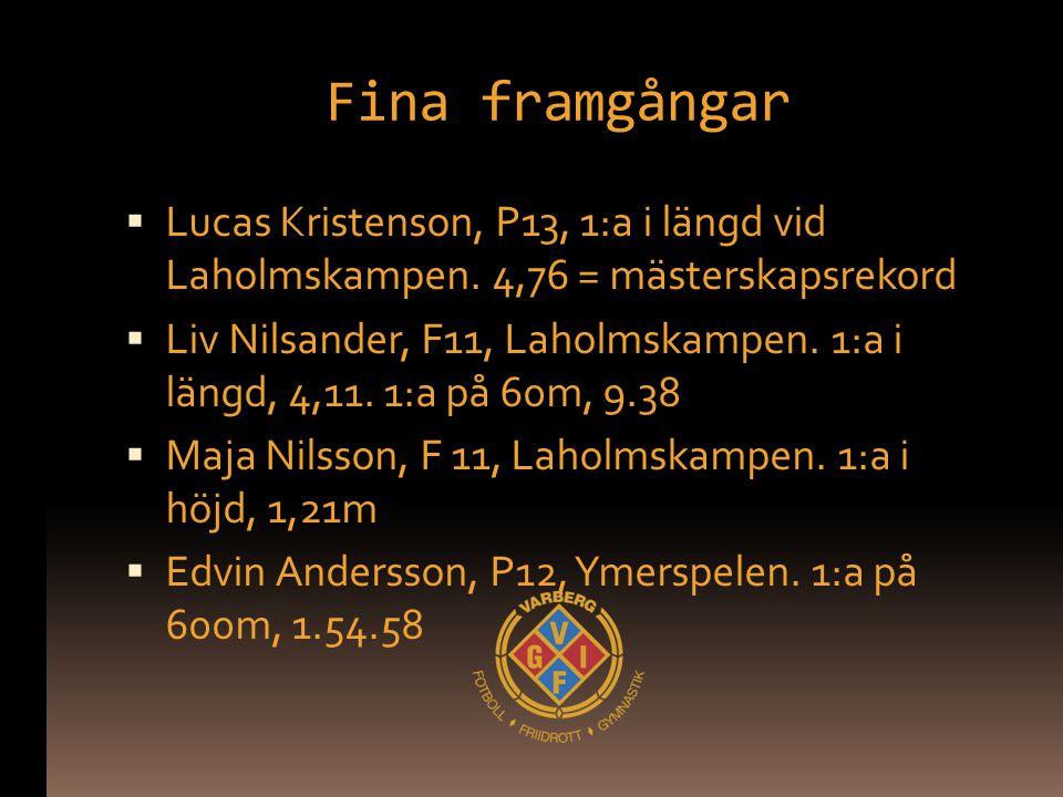 Fina framgångar Lucas Kristenson, P13, 1:a i längd vid Laholmskampen. 4,76 = mästerskapsrekord.