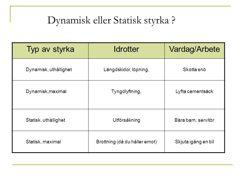 Dynamisk eller Statisk styrka
