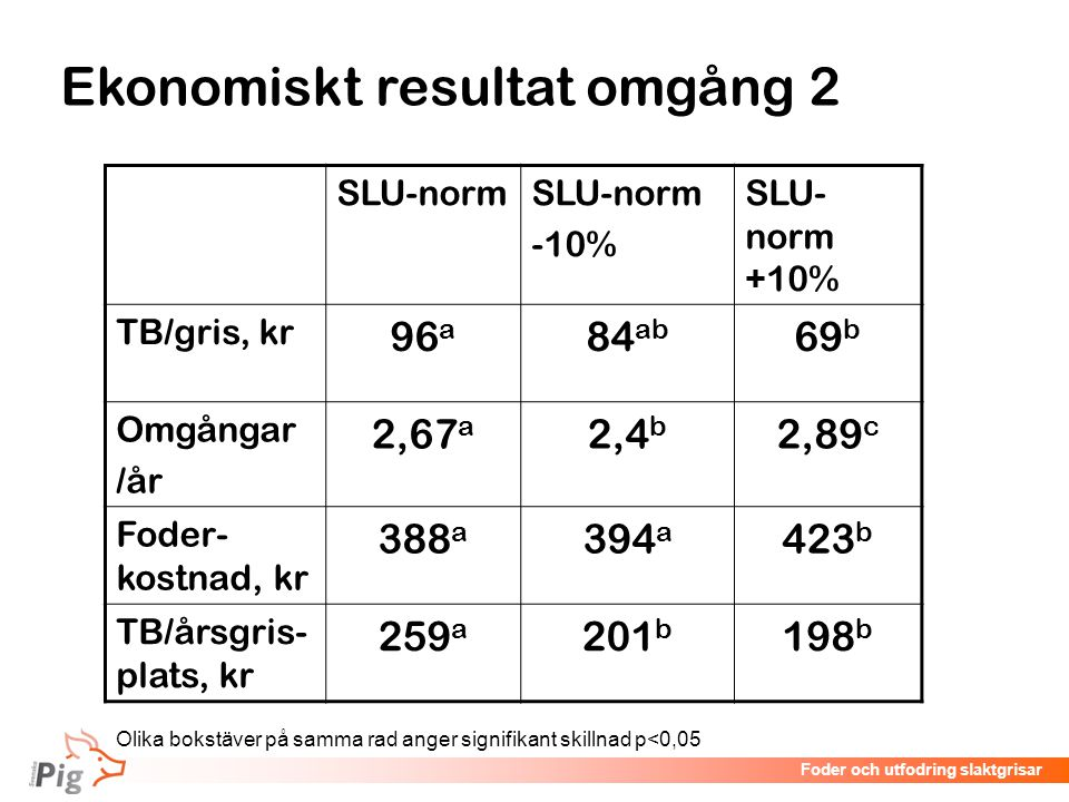 Ekonomiskt resultat omgång 2