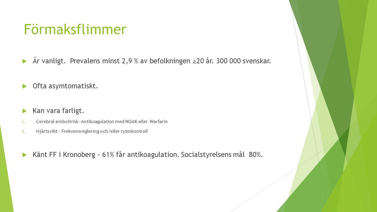 Förmaksflimmer Är vanligt. Prevalens minst 2,9 % av befolkningen ≥20 år. 300 000 svenskar. Ofta asymtomatiskt.