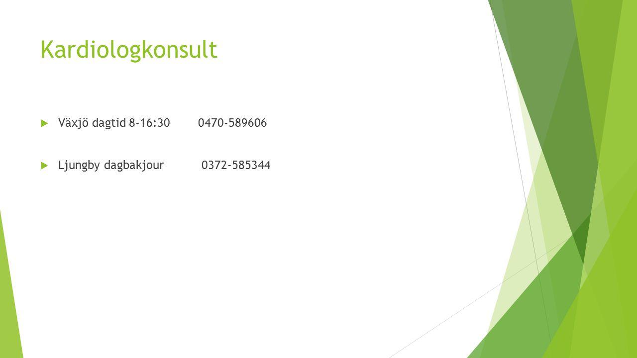 Kardiologkonsult Växjö dagtid 8-16:30 0470-589606