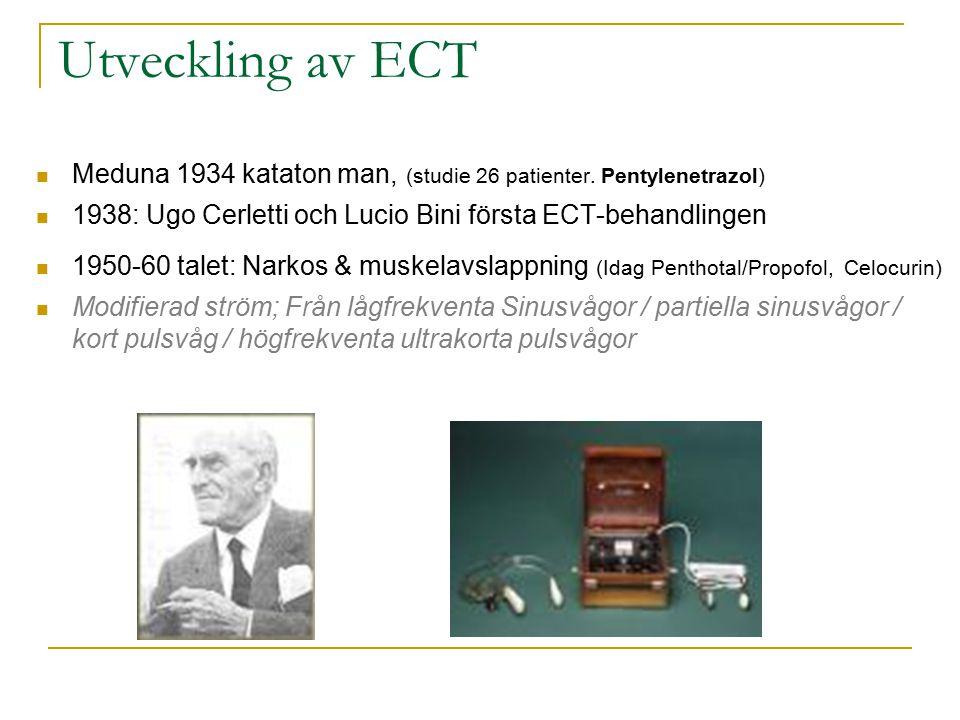 Utveckling av ECT Meduna 1934 kataton man, (studie 26 patienter. Pentylenetrazol) 1938: Ugo Cerletti och Lucio Bini första ECT-behandlingen.
