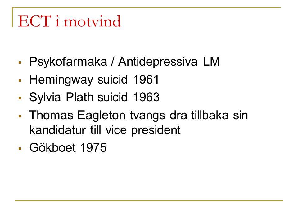 ECT i motvind Psykofarmaka / Antidepressiva LM Hemingway suicid 1961