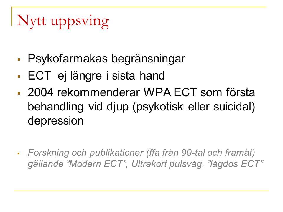 Nytt uppsving Psykofarmakas begränsningar ECT ej längre i sista hand