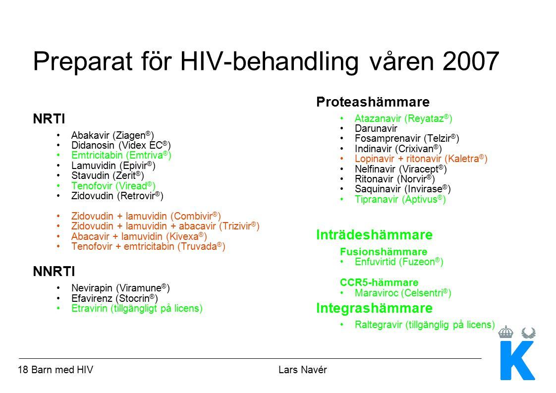 Preparat för HIV-behandling våren 2007
